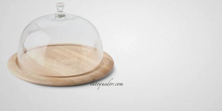 Plateau fromage bois avec cloche en verre