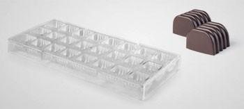 Moule à chocolat polystyrène 24 bonbons carrés striés