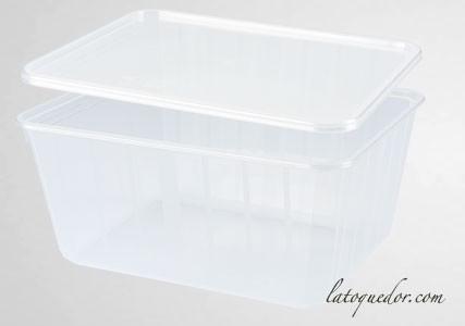 Barquette plastique cristal avec couvercle 115 cl - Cartybox