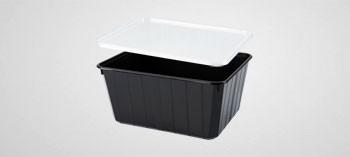 Barquette plastique noir avec couvercle 115 cl - Cartybox