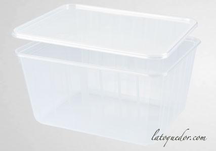 Barquette plastique cristal avec couvercle 180 cl - Cartybox