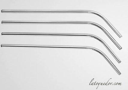 Pailles courbée en inox (x4)