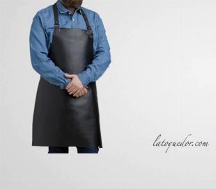 Tablier en cuir noir avec bavette