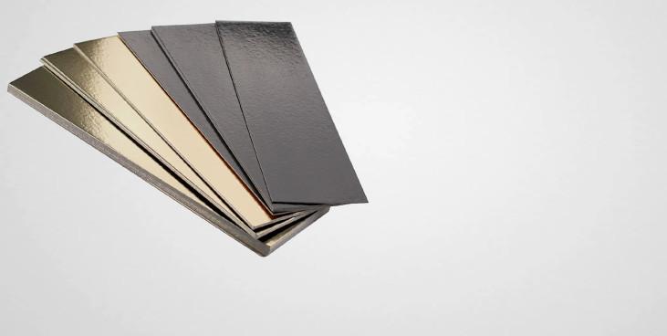 Semelles bûches bords lisses or et noir (x50)