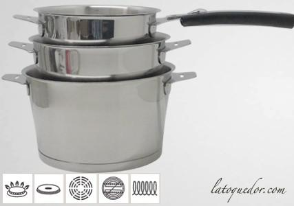 Série 3 casseroles inox Asana poignée amovible