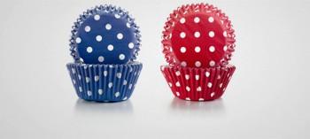 Caisette cupcake rouge violet à points
