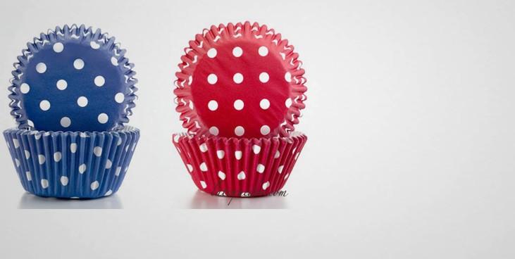 Caissette cupcake rouge violet à points (x100)