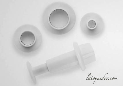 Découpoir mini rond avec poussoir (x3)