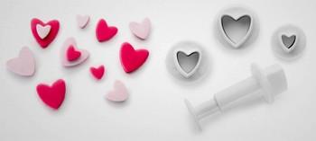 Découpoir mini coeur avec poussoir (x3)