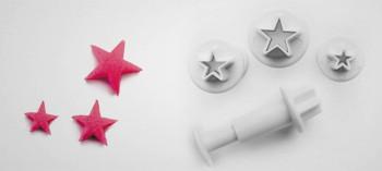 Découpoir mini étoile avec poussoir (x3)